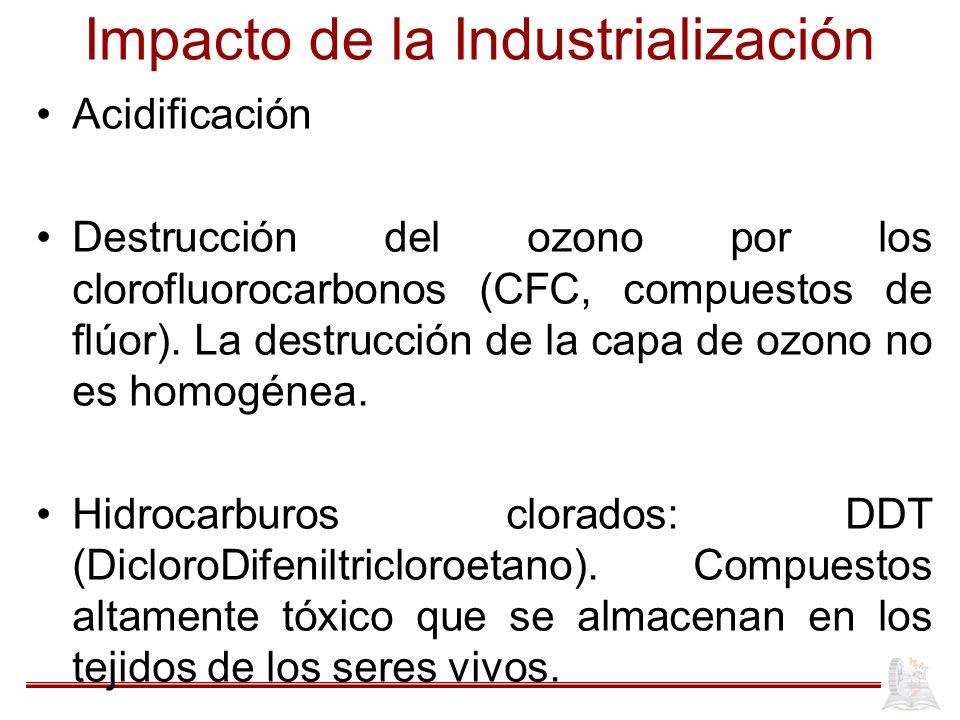 Impacto de la Industrialización Acidificación Destrucción del ozono por los clorofluorocarbonos (CFC, compuestos de flúor). La destrucción de la capa