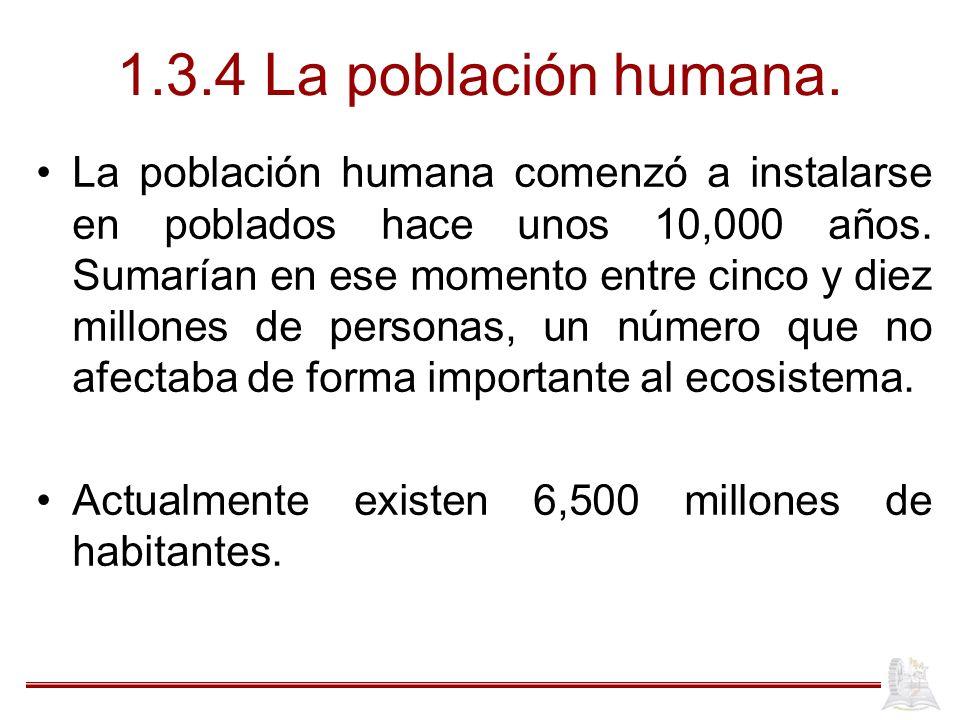 1.3.4 La población humana. La población humana comenzó a instalarse en poblados hace unos 10,000 años. Sumarían en ese momento entre cinco y diez mill