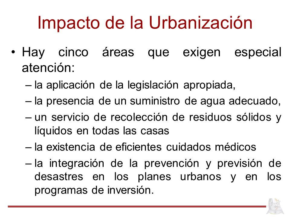 Impacto de la Urbanización Hay cinco áreas que exigen especial atención: –la aplicación de la legislación apropiada, –la presencia de un suministro de