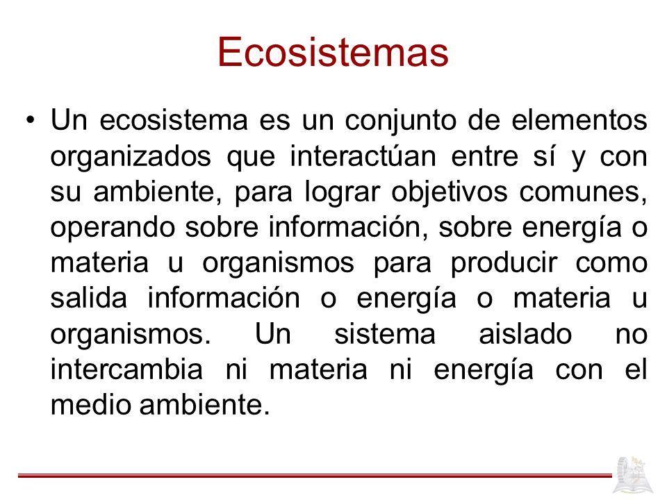 Ecosistemas Un ecosistema es un conjunto de elementos organizados que interactúan entre sí y con su ambiente, para lograr objetivos comunes, operando