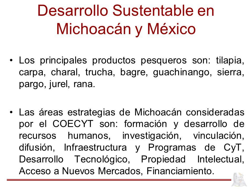 Desarrollo Sustentable en Michoacán y México Los principales productos pesqueros son: tilapia, carpa, charal, trucha, bagre, guachinango, sierra, parg