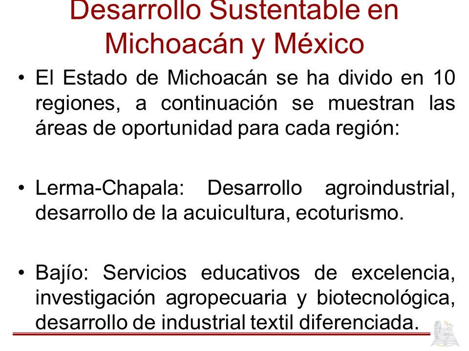 Desarrollo Sustentable en Michoacán y México El Estado de Michoacán se ha divido en 10 regiones, a continuación se muestran las áreas de oportunidad p