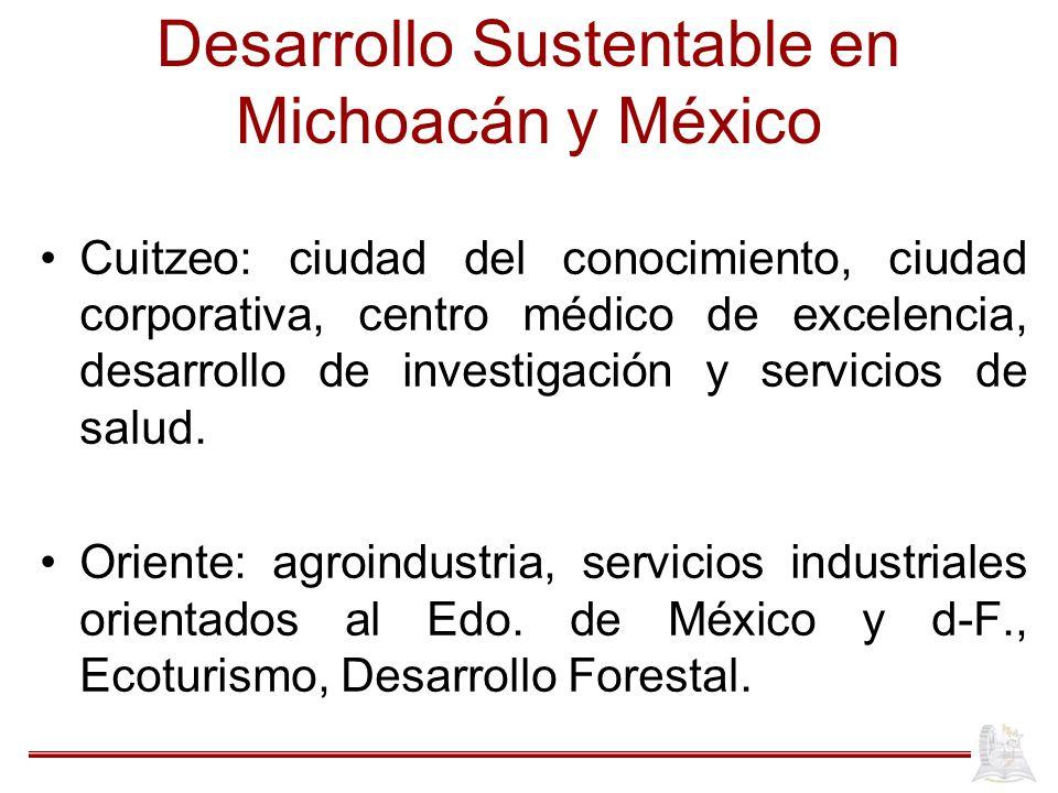 Desarrollo Sustentable en Michoacán y México Cuitzeo: ciudad del conocimiento, ciudad corporativa, centro médico de excelencia, desarrollo de investig