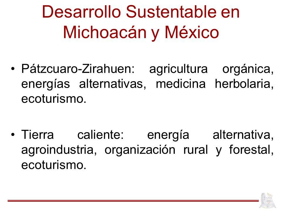 Desarrollo Sustentable en Michoacán y México Pátzcuaro-Zirahuen: agricultura orgánica, energías alternativas, medicina herbolaria, ecoturismo. Tierra