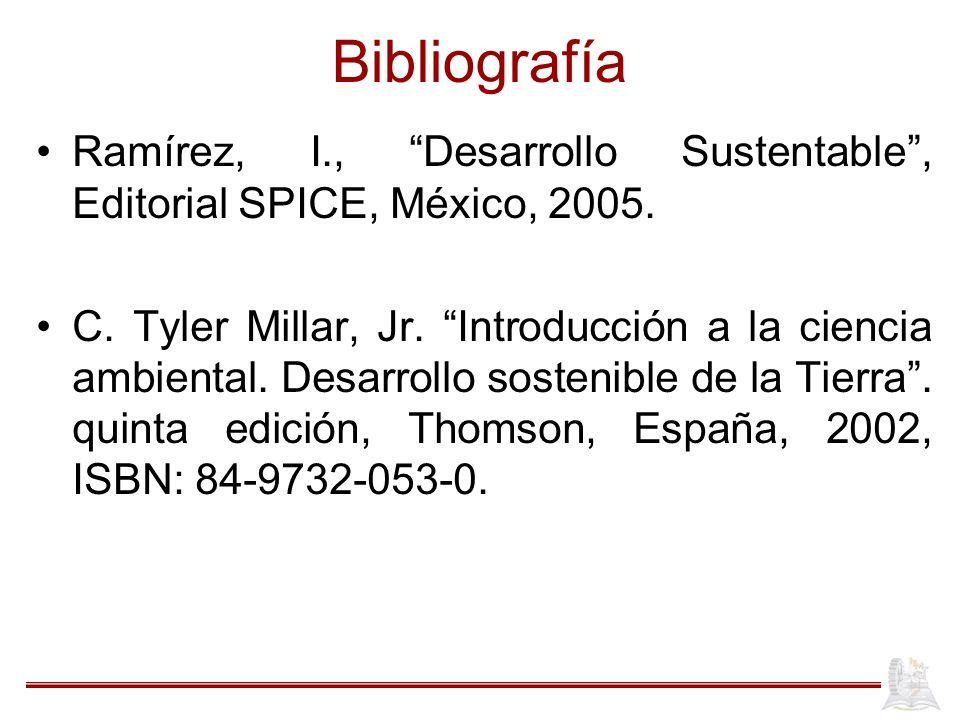 Bibliografía Ramírez, I., Desarrollo Sustentable, Editorial SPICE, México, 2005. C. Tyler Millar, Jr. Introducción a la ciencia ambiental. Desarrollo