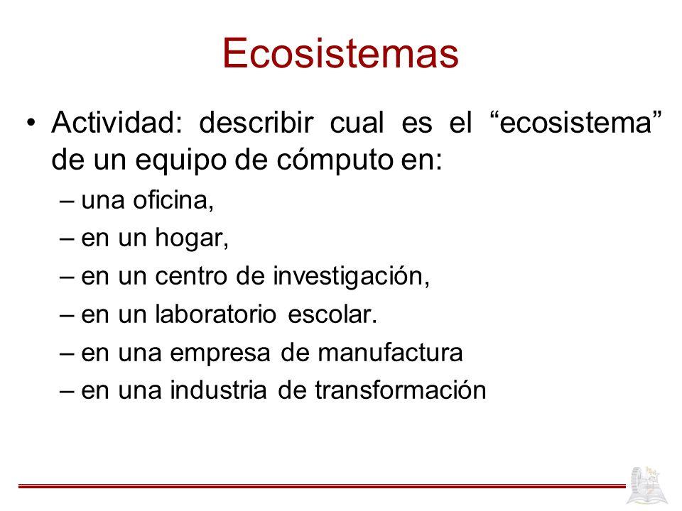 Ecosistemas Actividad: describir cual es el ecosistema de un equipo de cómputo en: –una oficina, –en un hogar, –en un centro de investigación, –en un