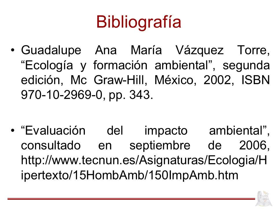 Bibliografía Guadalupe Ana María Vázquez Torre, Ecología y formación ambiental, segunda edición, Mc Graw-Hill, México, 2002, ISBN 970-10-2969-0, pp. 3
