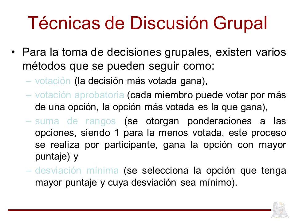Técnicas de Discusión Grupal Para la toma de decisiones grupales, existen varios métodos que se pueden seguir como: –votación (la decisión más votada