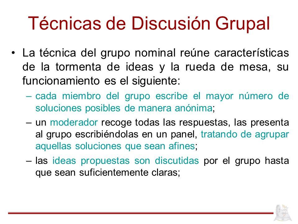 Técnicas de Discusión Grupal La técnica del grupo nominal reúne características de la tormenta de ideas y la rueda de mesa, su funcionamiento es el si