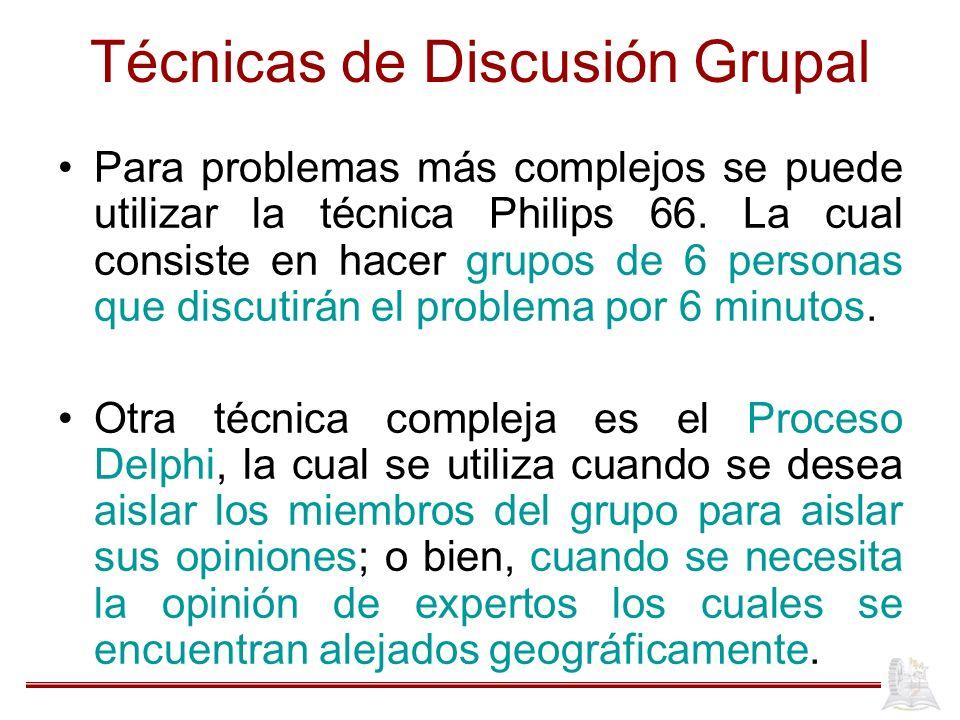 Técnicas de Discusión Grupal Para problemas más complejos se puede utilizar la técnica Philips 66. La cual consiste en hacer grupos de 6 personas que