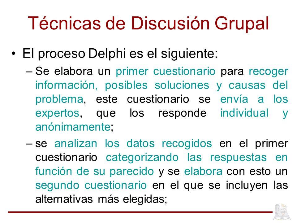 Técnicas de Discusión Grupal El proceso Delphi es el siguiente: –Se elabora un primer cuestionario para recoger información, posibles soluciones y cau