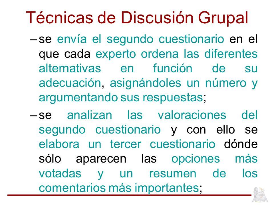 Técnicas de Discusión Grupal –se envía el segundo cuestionario en el que cada experto ordena las diferentes alternativas en función de su adecuación,