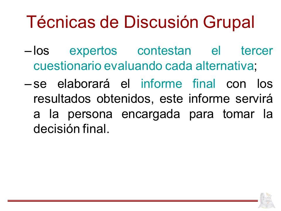 Técnicas de Discusión Grupal –los expertos contestan el tercer cuestionario evaluando cada alternativa; –se elaborará el informe final con los resulta