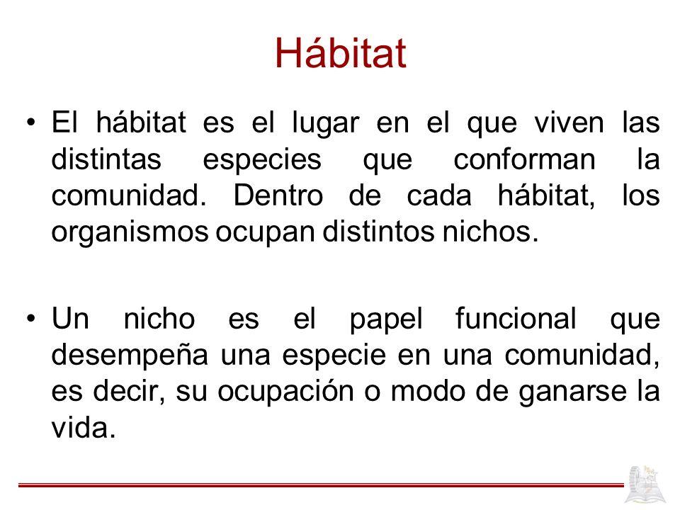 Hábitat El hábitat es el lugar en el que viven las distintas especies que conforman la comunidad. Dentro de cada hábitat, los organismos ocupan distin