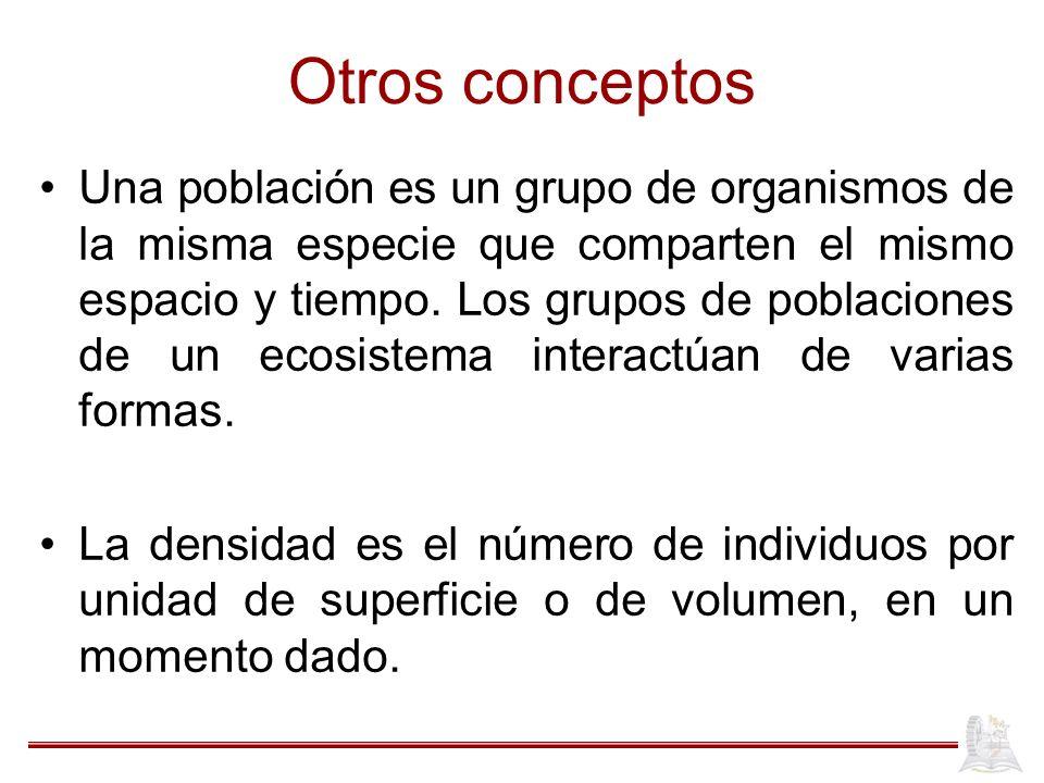 Otros conceptos Una población es un grupo de organismos de la misma especie que comparten el mismo espacio y tiempo. Los grupos de poblaciones de un e