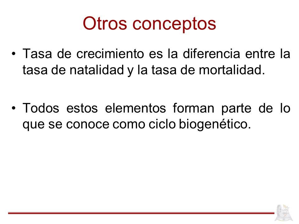 Otros conceptos Tasa de crecimiento es la diferencia entre la tasa de natalidad y la tasa de mortalidad. Todos estos elementos forman parte de lo que