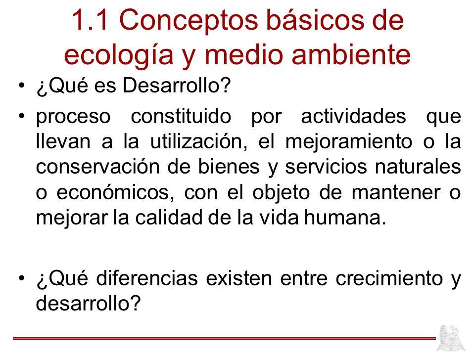 1.1 Conceptos básicos de ecología y medio ambiente ¿Qué es Desarrollo? proceso constituido por actividades que llevan a la utilización, el mejoramient