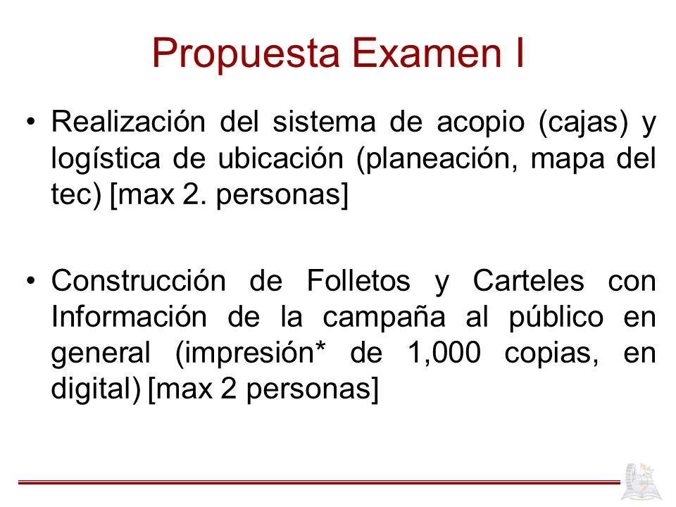 Propuesta Examen I Realización del sistema de acopio (cajas) y logística de ubicación (planeación, mapa del tec) [max 2. personas] Construcción de Fol