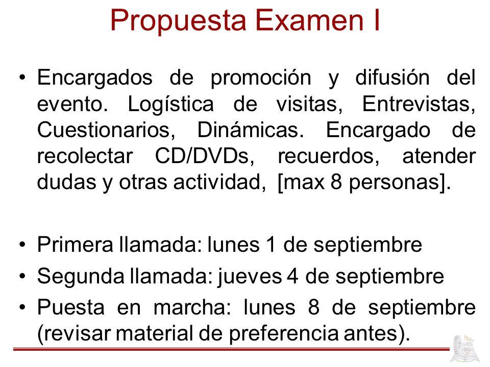 Propuesta Examen I Encargados de promoción y difusión del evento. Logística de visitas, Entrevistas, Cuestionarios, Dinámicas. Encargado de recolectar