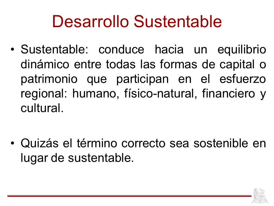 Desarrollo Sustentable Sustentable: conduce hacia un equilibrio dinámico entre todas las formas de capital o patrimonio que participan en el esfuerzo