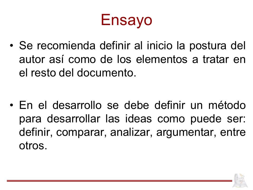 Ensayo Se recomienda definir al inicio la postura del autor así como de los elementos a tratar en el resto del documento. En el desarrollo se debe def