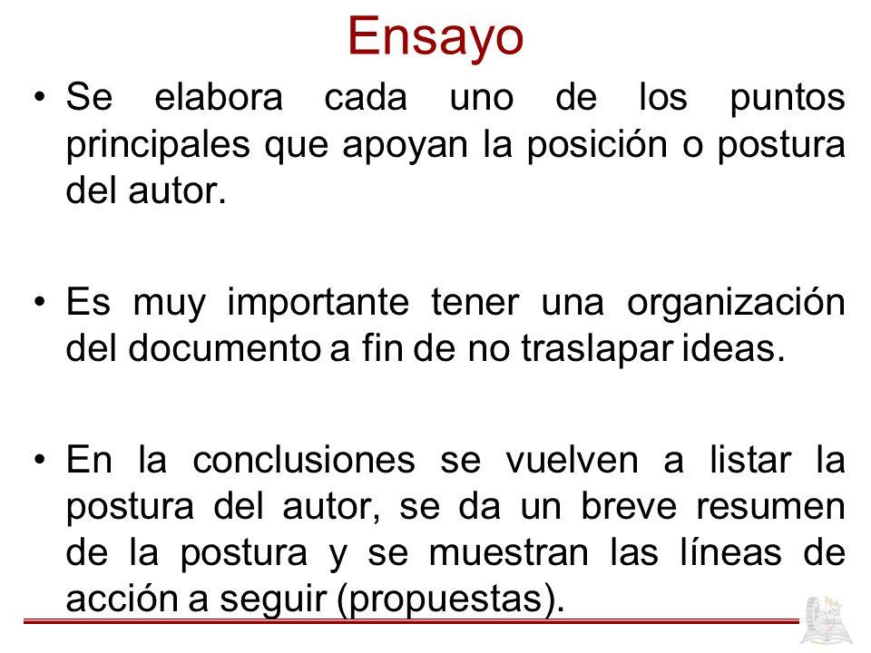 Ensayo Se elabora cada uno de los puntos principales que apoyan la posición o postura del autor. Es muy importante tener una organización del document