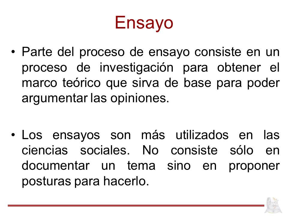 Ensayo Parte del proceso de ensayo consiste en un proceso de investigación para obtener el marco teórico que sirva de base para poder argumentar las o