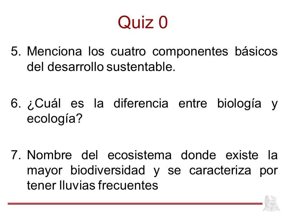 Quiz 0 5.Menciona los cuatro componentes básicos del desarrollo sustentable. 6.¿Cuál es la diferencia entre biología y ecología? 7.Nombre del ecosiste