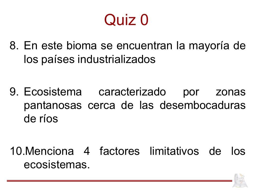 Quiz 0 8.En este bioma se encuentran la mayoría de los países industrializados 9.Ecosistema caracterizado por zonas pantanosas cerca de las desembocad