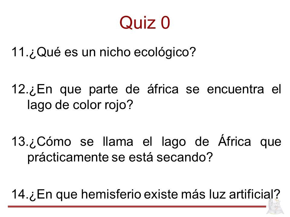 Quiz 0 11.¿Qué es un nicho ecológico? 12.¿En que parte de áfrica se encuentra el lago de color rojo? 13.¿Cómo se llama el lago de África que prácticam