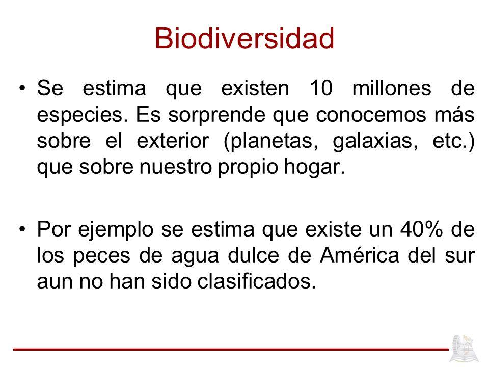 Biodiversidad Se estima que existen 10 millones de especies. Es sorprende que conocemos más sobre el exterior (planetas, galaxias, etc.) que sobre nue