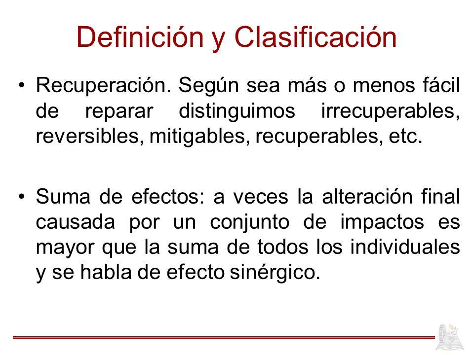 Definición y Clasificación Recuperación. Según sea más o menos fácil de reparar distinguimos irrecuperables, reversibles, mitigables, recuperables, et