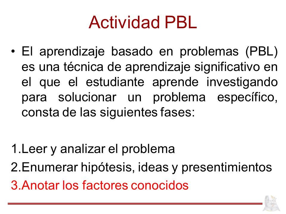 Actividad PBL El aprendizaje basado en problemas (PBL) es una técnica de aprendizaje significativo en el que el estudiante aprende investigando para s