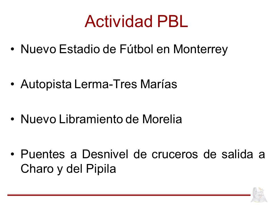 Actividad PBL Nuevo Estadio de Fútbol en Monterrey Autopista Lerma-Tres Marías Nuevo Libramiento de Morelia Puentes a Desnivel de cruceros de salida a