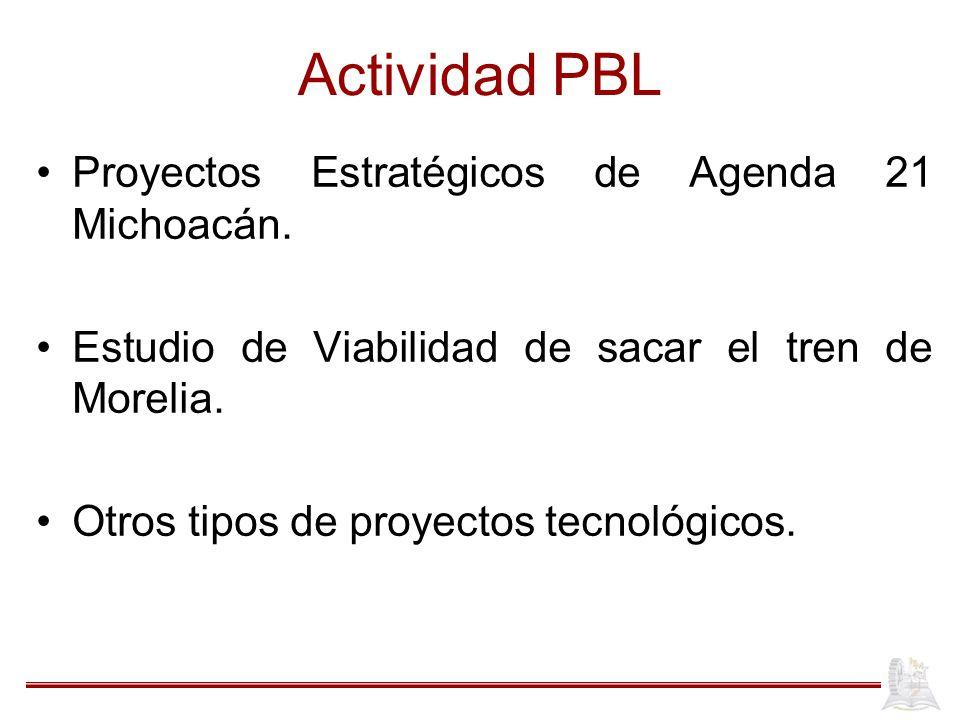 Actividad PBL Proyectos Estratégicos de Agenda 21 Michoacán. Estudio de Viabilidad de sacar el tren de Morelia. Otros tipos de proyectos tecnológicos.