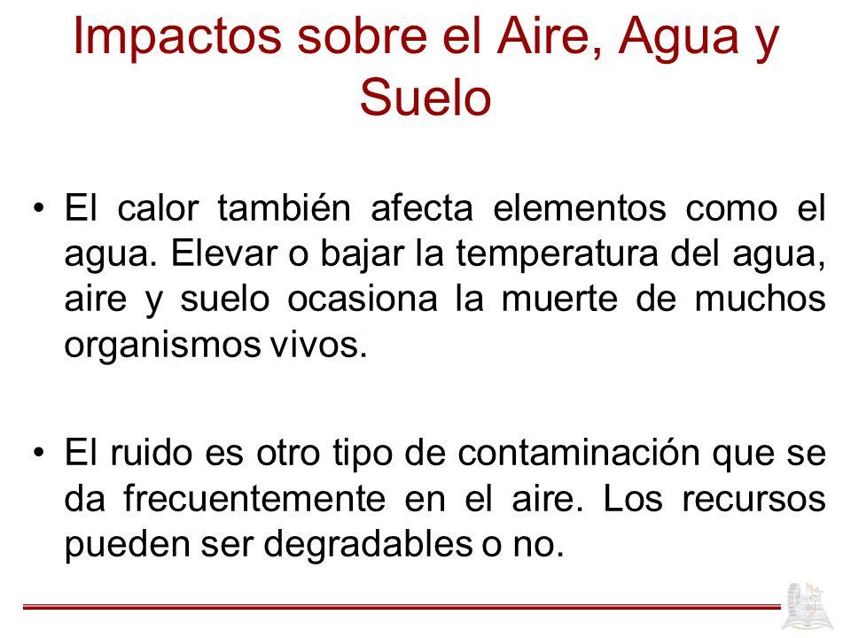 Impactos sobre el Aire, Agua y Suelo El calor también afecta elementos como el agua. Elevar o bajar la temperatura del agua, aire y suelo ocasiona la