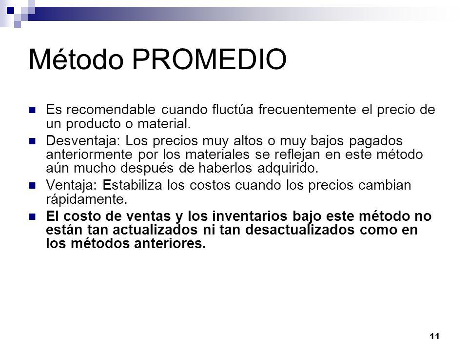 11 Método PROMEDIO Es recomendable cuando fluctúa frecuentemente el precio de un producto o material. Desventaja: Los precios muy altos o muy bajos pa