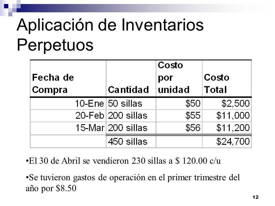 12 Aplicación de Inventarios Perpetuos El 30 de Abril se vendieron 230 sillas a $ 120.00 c/u Se tuvieron gastos de operación en el primer trimestre de