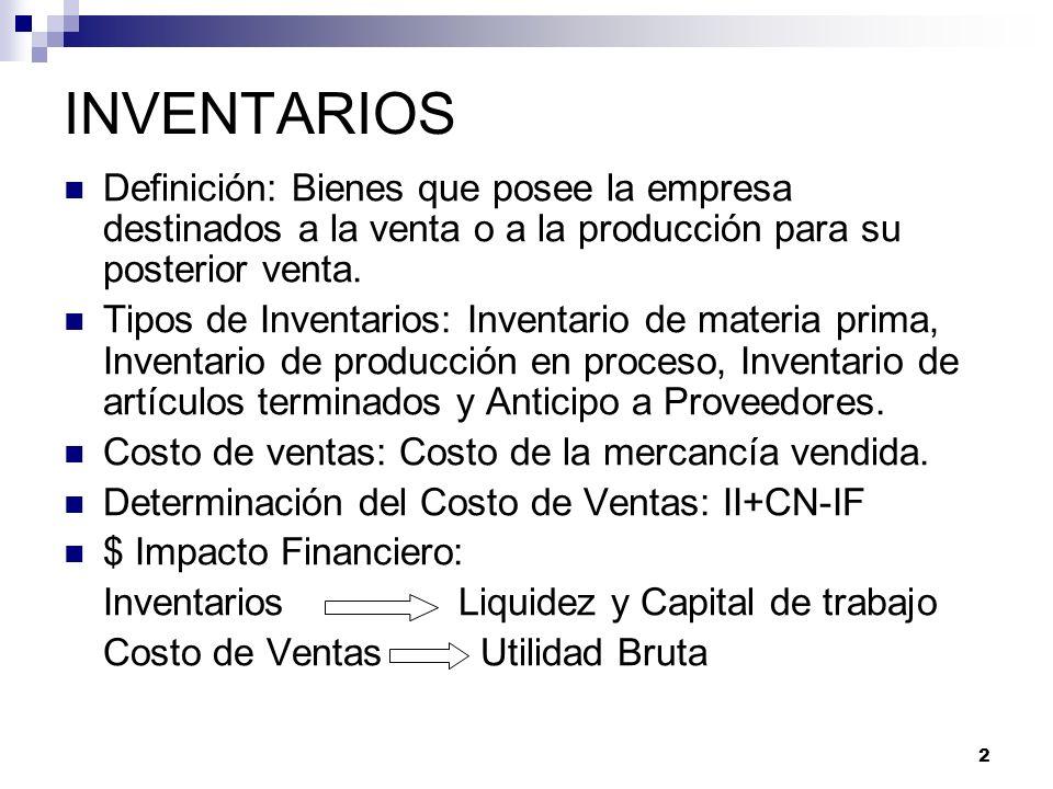 2 INVENTARIOS Definición: Bienes que posee la empresa destinados a la venta o a la producción para su posterior venta. Tipos de Inventarios: Inventari