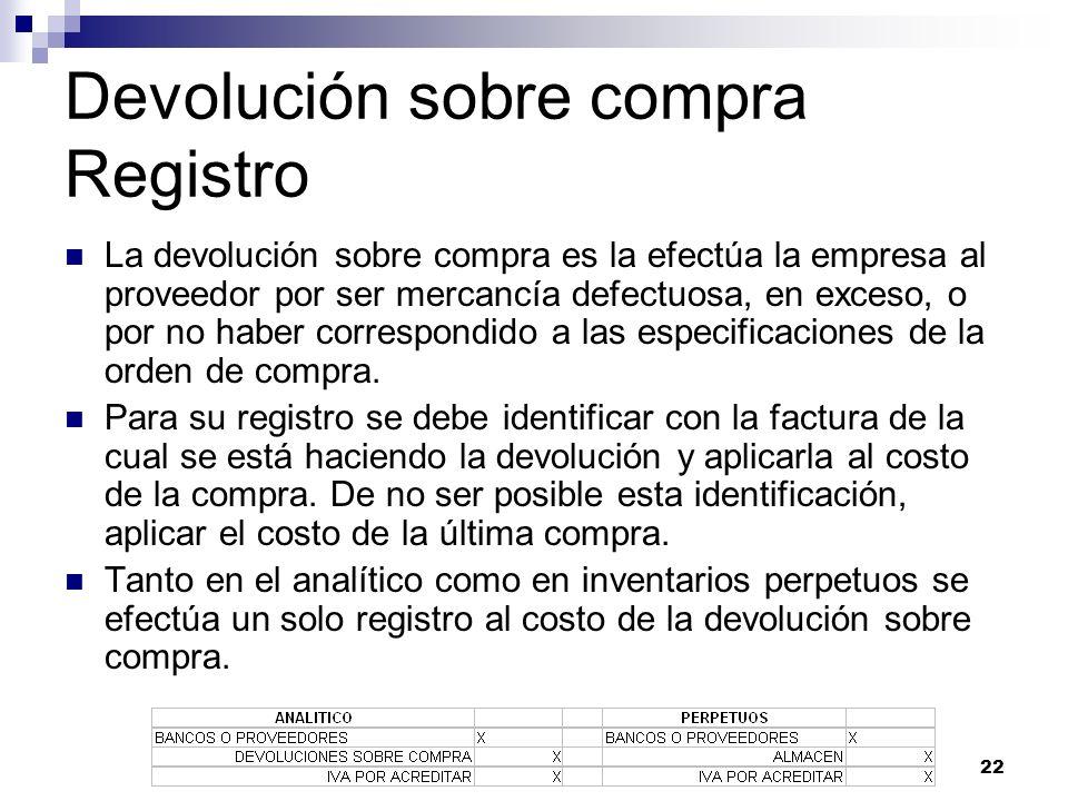 22 Devolución sobre compra Registro La devolución sobre compra es la efectúa la empresa al proveedor por ser mercancía defectuosa, en exceso, o por no