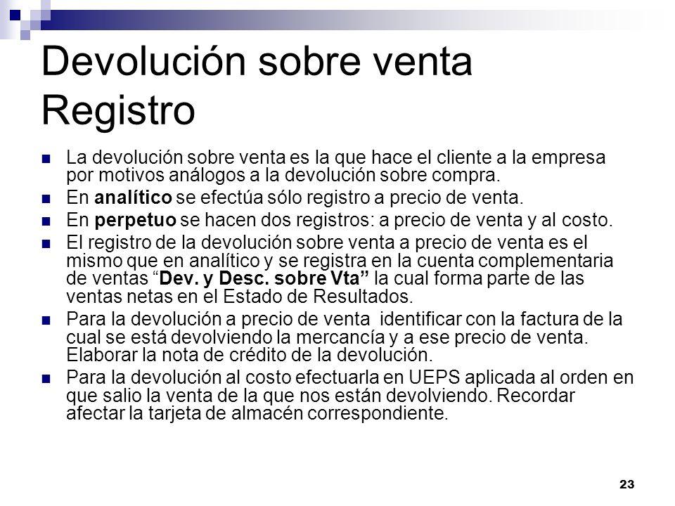 23 Devolución sobre venta Registro La devolución sobre venta es la que hace el cliente a la empresa por motivos análogos a la devolución sobre compra.