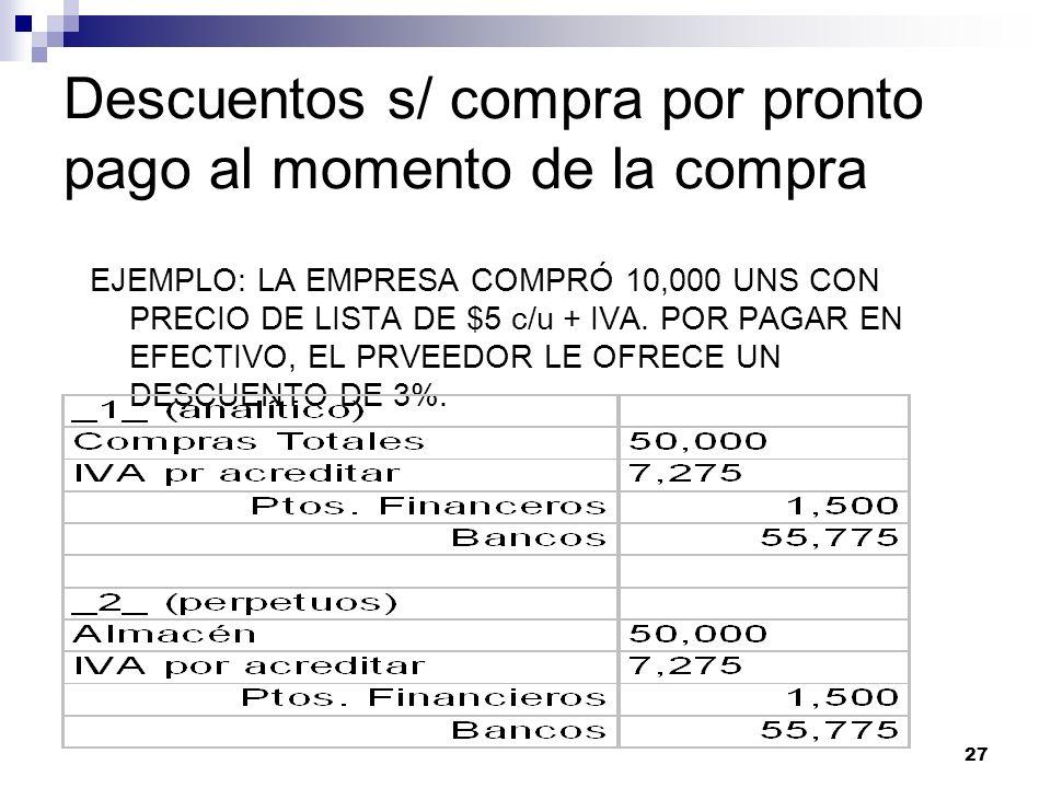 27 Descuentos s/ compra por pronto pago al momento de la compra EJEMPLO: LA EMPRESA COMPRÓ 10,000 UNS CON PRECIO DE LISTA DE $5 c/u + IVA. POR PAGAR E