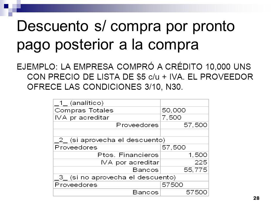 28 Descuento s/ compra por pronto pago posterior a la compra EJEMPLO: LA EMPRESA COMPRÓ A CRÉDITO 10,000 UNS CON PRECIO DE LISTA DE $5 c/u + IVA. EL P