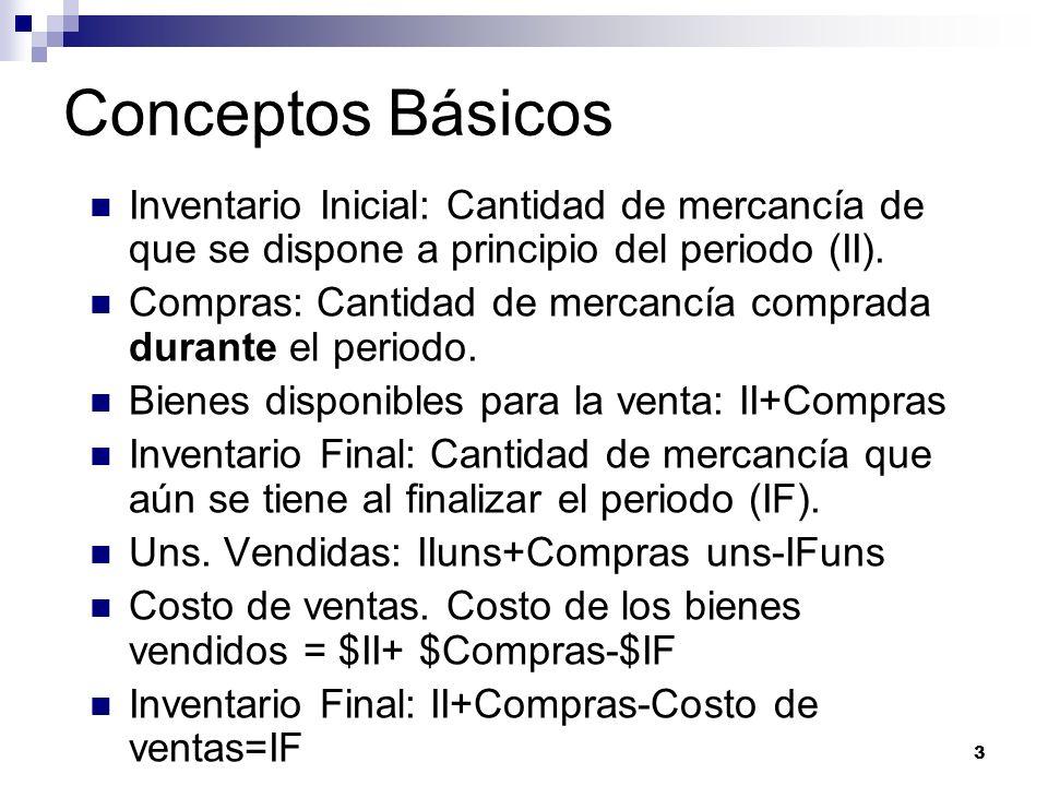 3 Conceptos Básicos Inventario Inicial: Cantidad de mercancía de que se dispone a principio del periodo (II). Compras: Cantidad de mercancía comprada