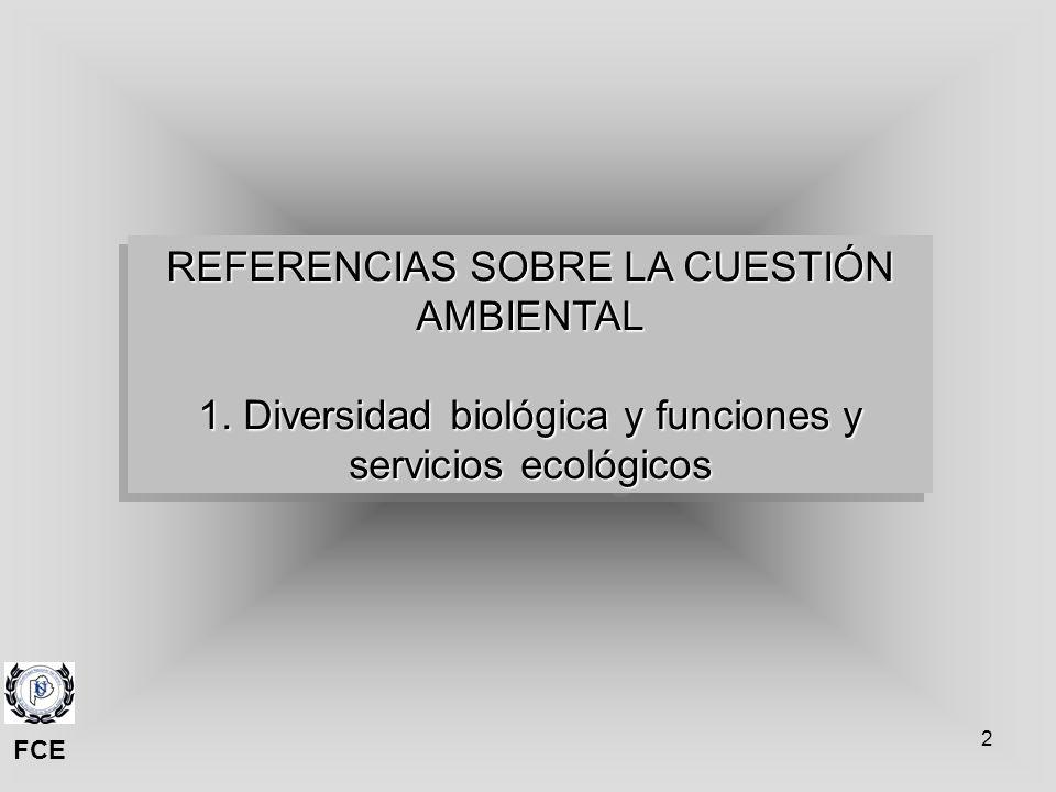 2 REFERENCIAS SOBRE LA CUESTIÓN AMBIENTAL 1. Diversidad biológica y funciones y servicios ecológicos REFERENCIAS SOBRE LA CUESTIÓN AMBIENTAL 1. Divers