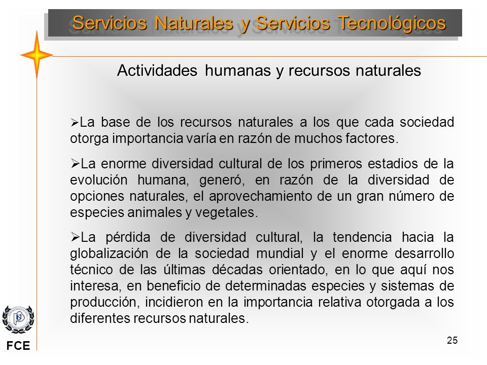 25 Actividades humanas y recursos naturales Servicios Naturales y Servicios Tecnológicos La base de los recursos naturales a los que cada sociedad oto