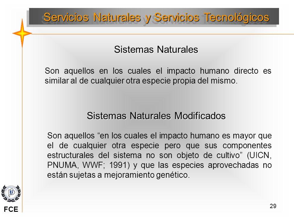 29 Sistemas Naturales Son aquellos en los cuales el impacto humano directo es similar al de cualquier otra especie propia del mismo. Sistemas Naturale