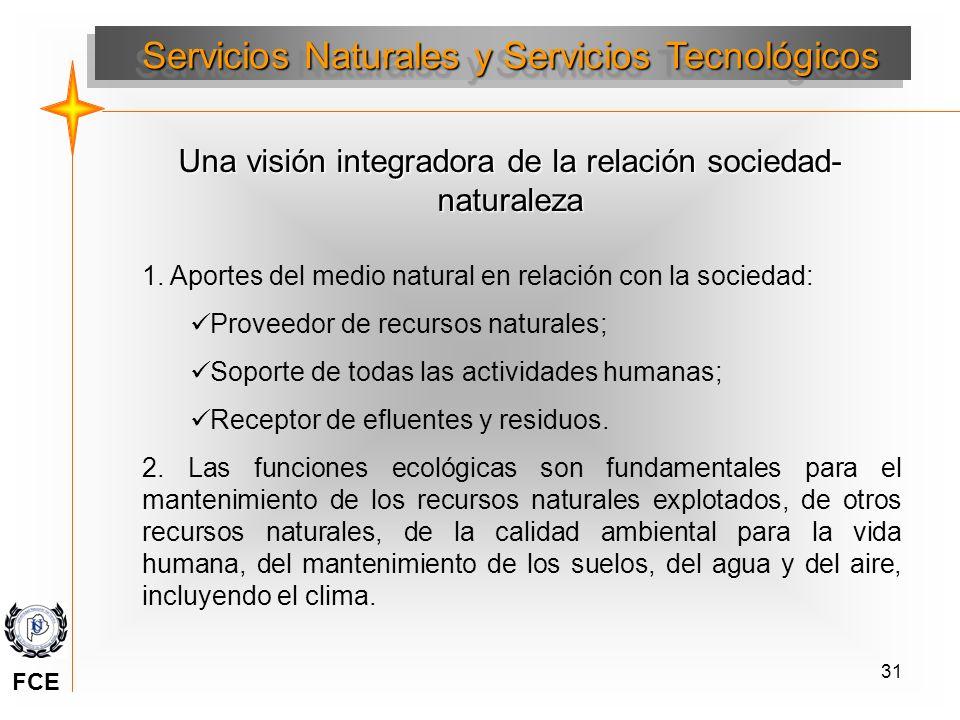 31 Una visión integradora de la relación sociedad- naturaleza 1. Aportes del medio natural en relación con la sociedad: Proveedor de recursos naturale