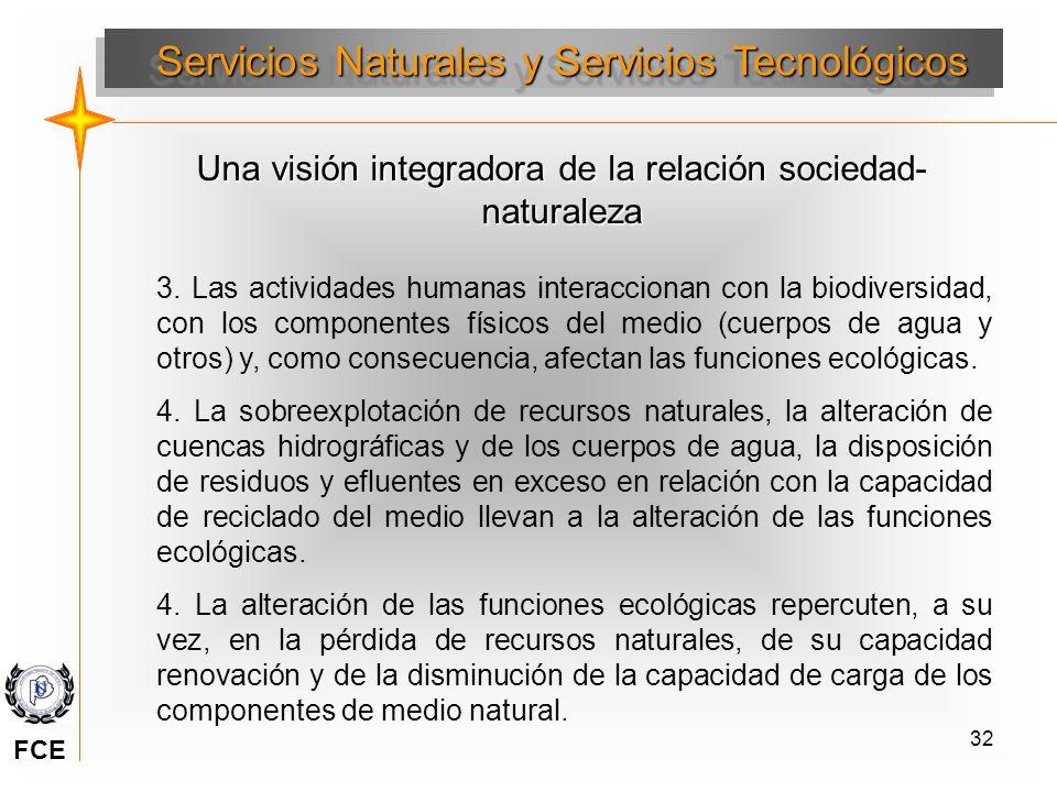 32 Una visión integradora de la relación sociedad- naturaleza 3. Las actividades humanas interaccionan con la biodiversidad, con los componentes físic