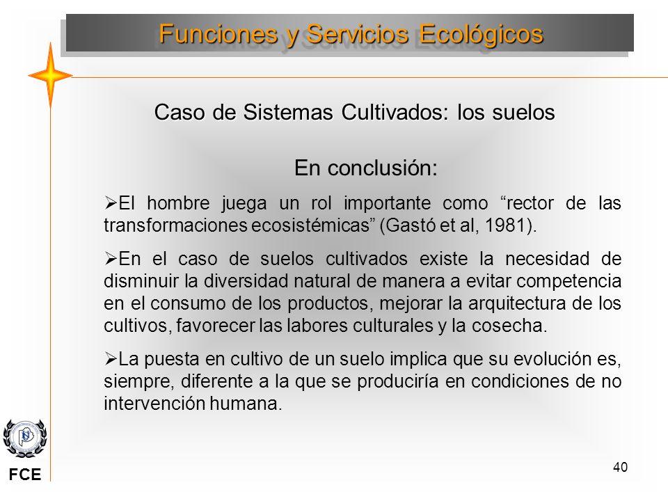 40 En conclusión: El hombre juega un rol importante como rector de las transformaciones ecosistémicas (Gastó et al, 1981). En el caso de suelos cultiv
